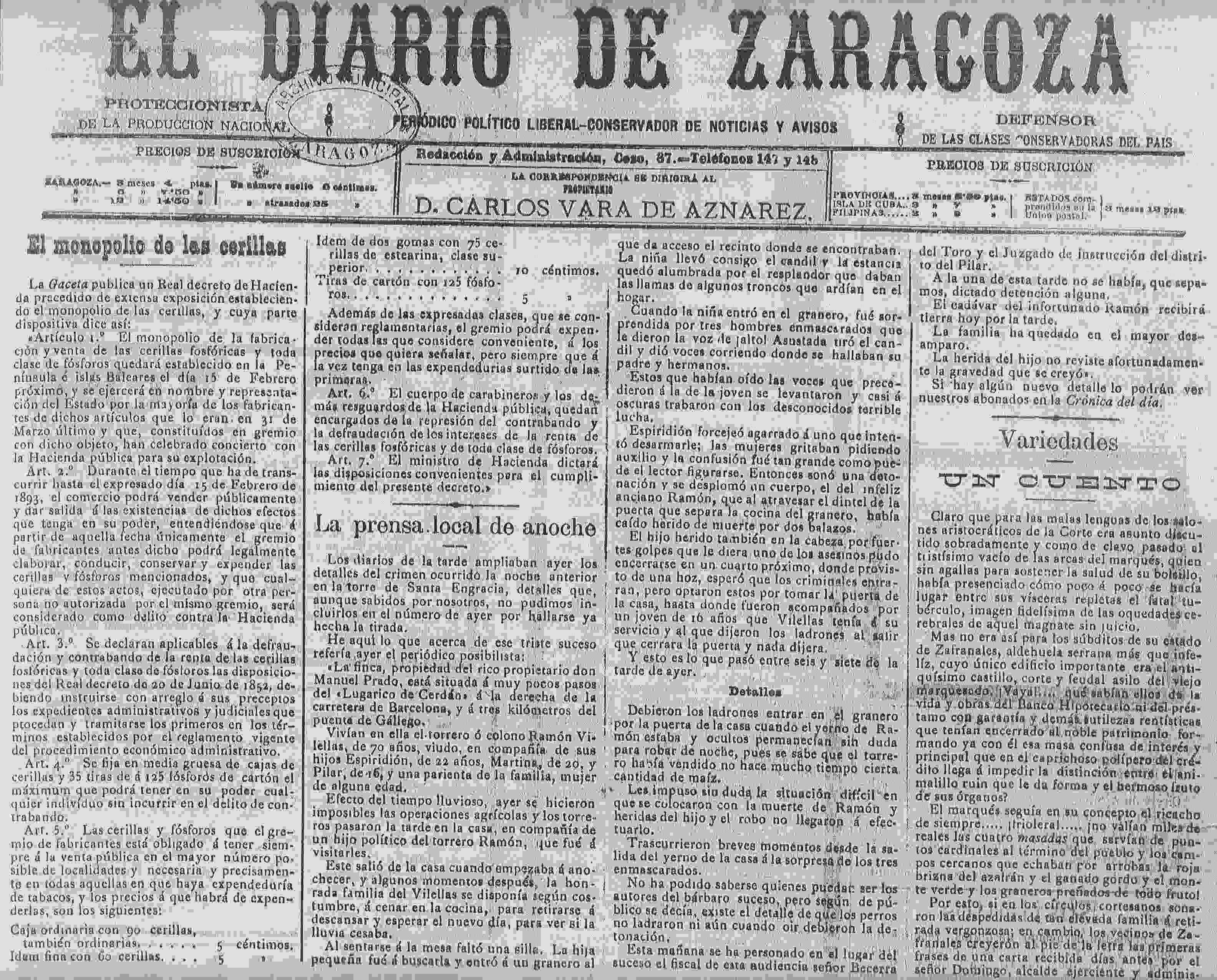 18921231_Asalto_Diario de Zaragoza